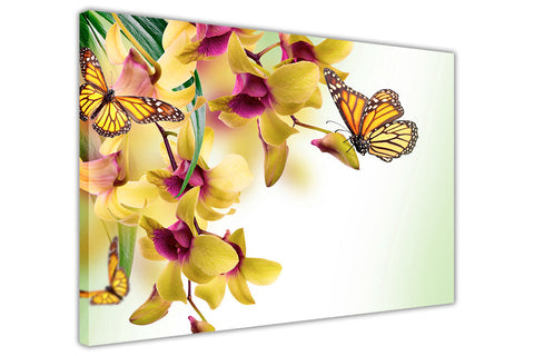Butterfly on Yellow flower Canvas Wall Art Pictures Home Decoration Framed Prints Canvas It Up 3D