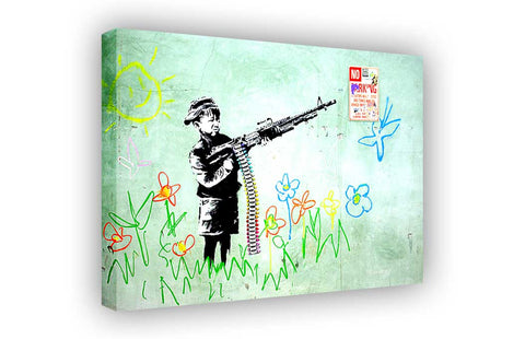 Banksy Soldier Boy on Framed Canvas Wall Art Prints Room Deco Poster Photo Landscape Pictures Home Decoration Artwork-3D