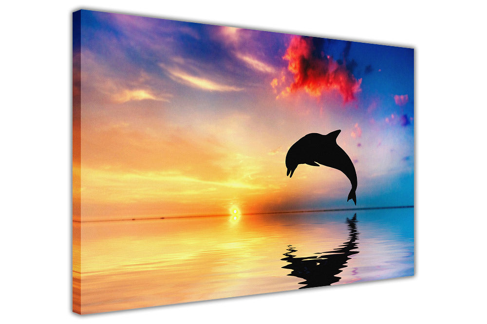 Jumping Dolphin Sulhouette on Framed Canvas Wall Art Prints Room ...