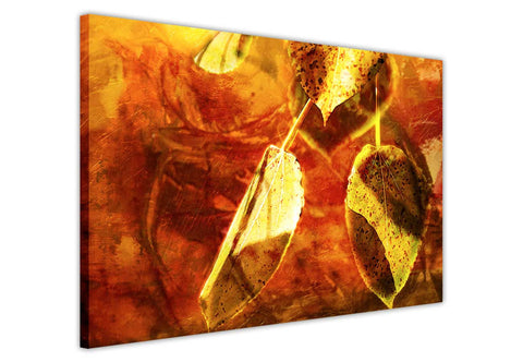 Abstract Gold and Red Leaf on Framed Canvas Wall Art Prints Floral Pictures Home Decoration Room Deco Poster Photo Artwork-3D