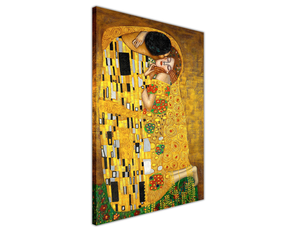 The Kiss By Gustav Klimt Oil Painting Re-printed on Framed Canvas ...