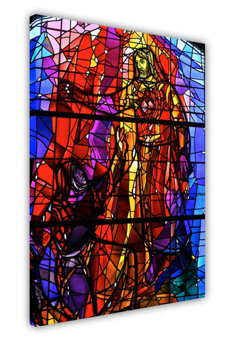 Mosaic Jesus Christ on Framed Canvas Wall Art Prints Floral Pictures Home Decoration Room Deco Poster Photo Artwork-3D