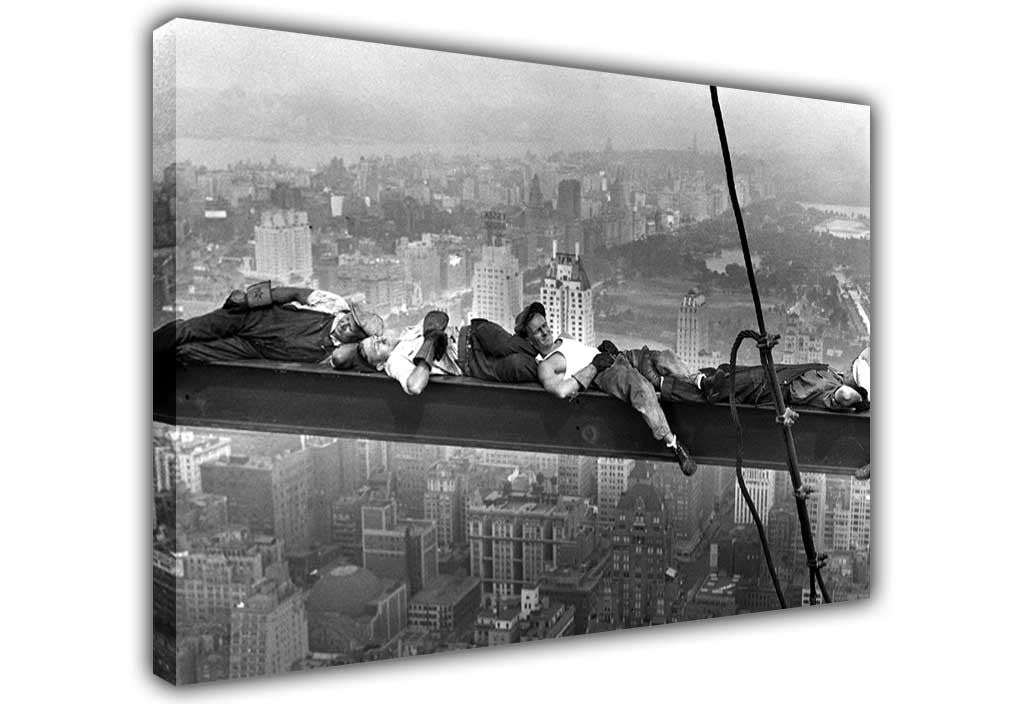 Iconic napping atop a skyscraper on framed canvas wall art prints home decoration pictures room deco