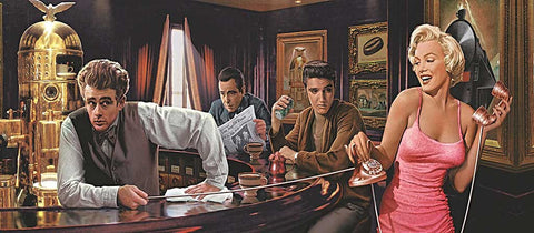 Marilyn Monroe Elvis James Dean Humphrey Bogart In A Bar On Framed