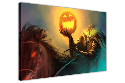 Halloween Scary Pumpkin Horseman on Framed Canvas Wall Art Prints Floral Pictures Home Decoration Room Deco Poster Photo Artwork-3D