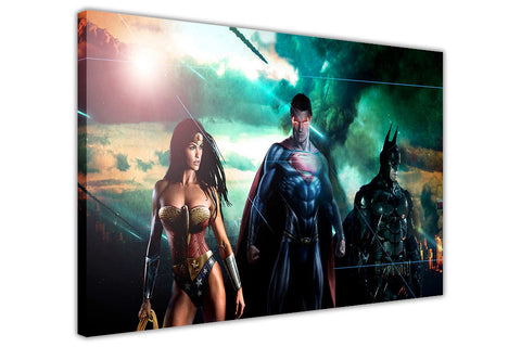 Batman Superman and Wonder Woman Movie Montage on Framed Canvas Wall Art Prints Room Deco Poster Photo Comic Pictures Home Decoration Artwork-3D