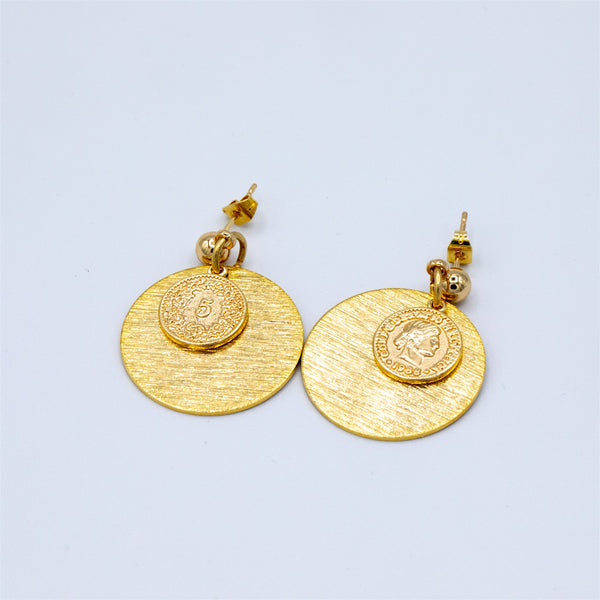 Gold Plated Stud with Textured Disc and Coin Drop earrings