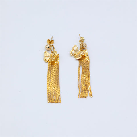 Gold Plated Tassel Stud Earrings