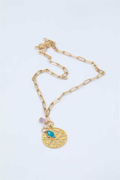 Gold Plated Lucky Charm Pendant, Amethyst stone pendant and Plated Rose Gold Hamsa Charm