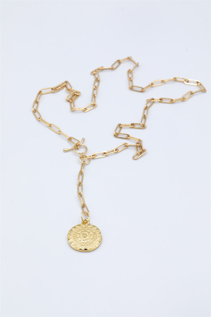 Front Fasting Gold Plated Chain with Aztec Pendant