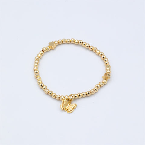 Beaded Gold Bracelet with Butterfly