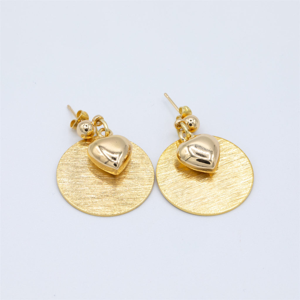 Gold Plated Stud Earrings With Textured Disc and Puffed Heart Drop