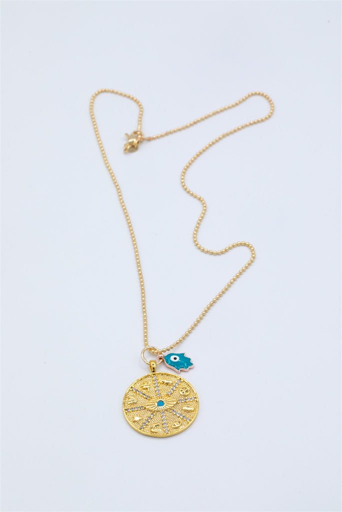 Gold Plated Bubble Chain with Good Fortune Pendant and Hamsa Charm