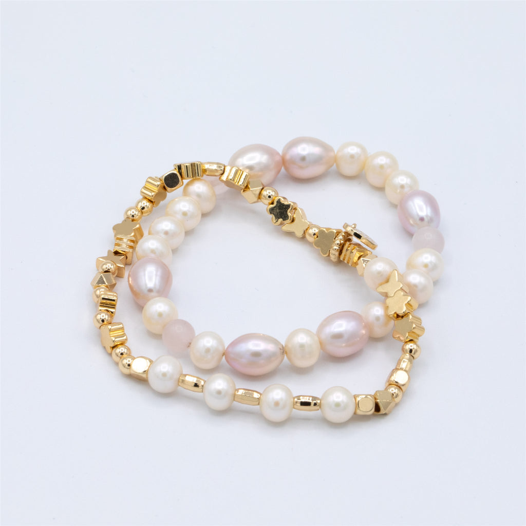 Bespoke Freshwater Pearl and mixed Gold Beads with sparkly Heart Charm
