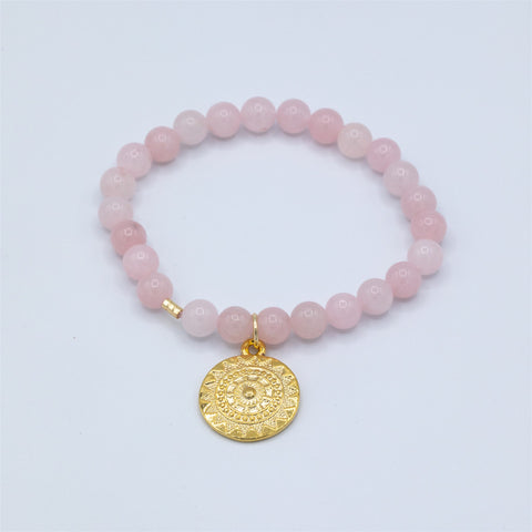Rose Quartz & Gold Charm Bracelet
