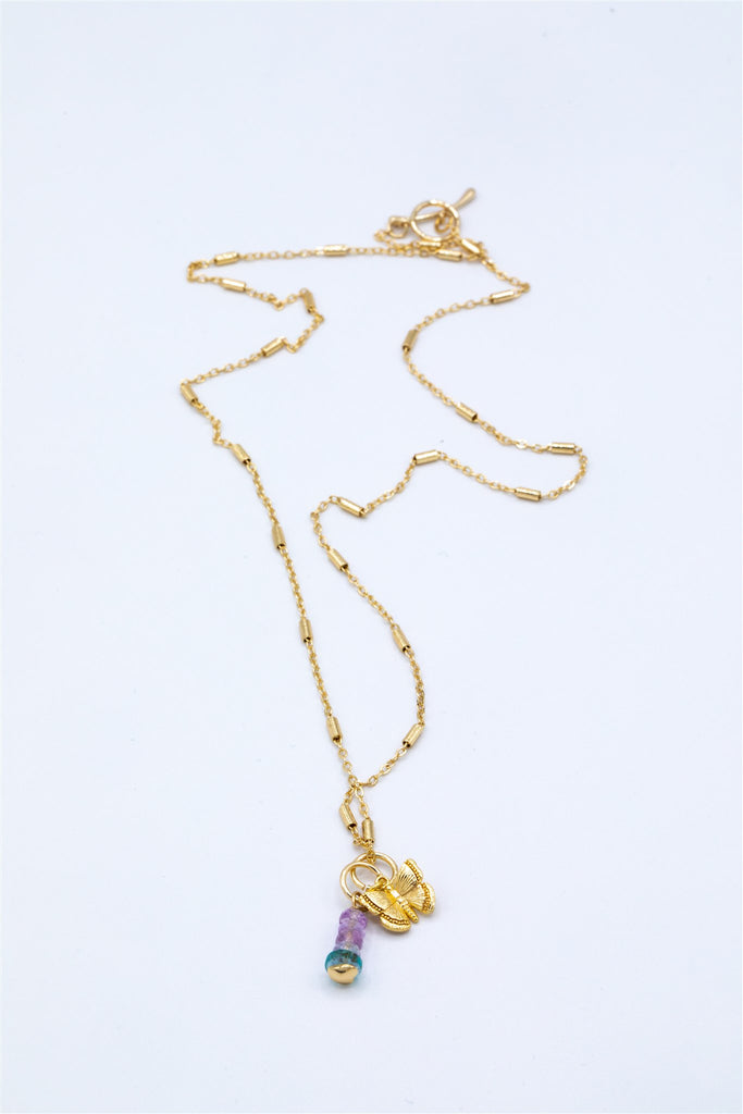 Delicate Gold Plated Chain with Butterfly Charm and Amethyst and Apatite Stones