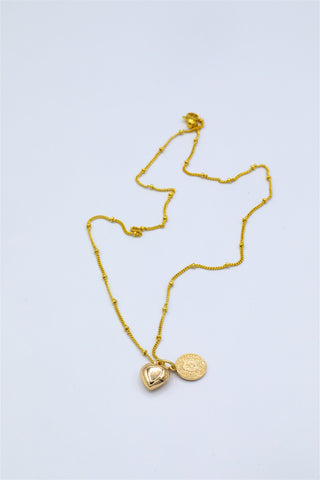 Gold Plated Puff Heart and Coin Pendant on Bubble Chain