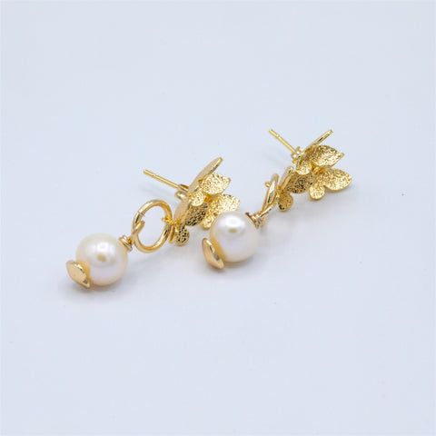 Trio of Butterfly Stud with Drop Pearl Earrings