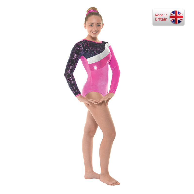 Long Sleeved Velvet Foil Striped Leotard - Dance Emporium