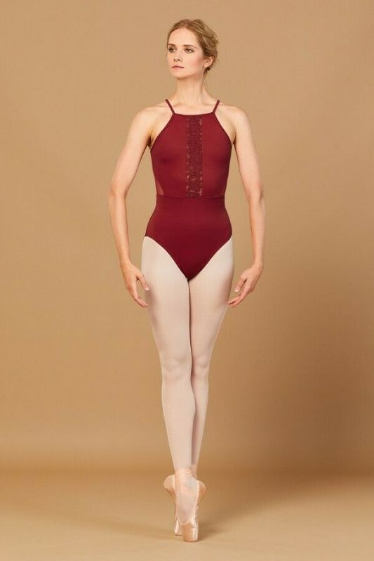 Aryana Embroidered Hi-Neck Leotard
