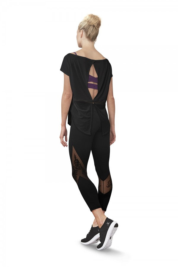 Flock Mesh Panel 3/4 Length Leggings - Dance Emporium