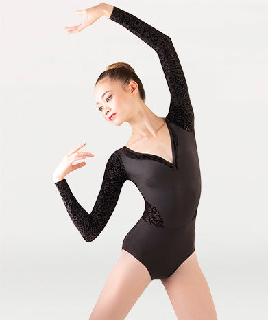 Velvet Long Sleeve V-Neck Leotard - Dance Emporium