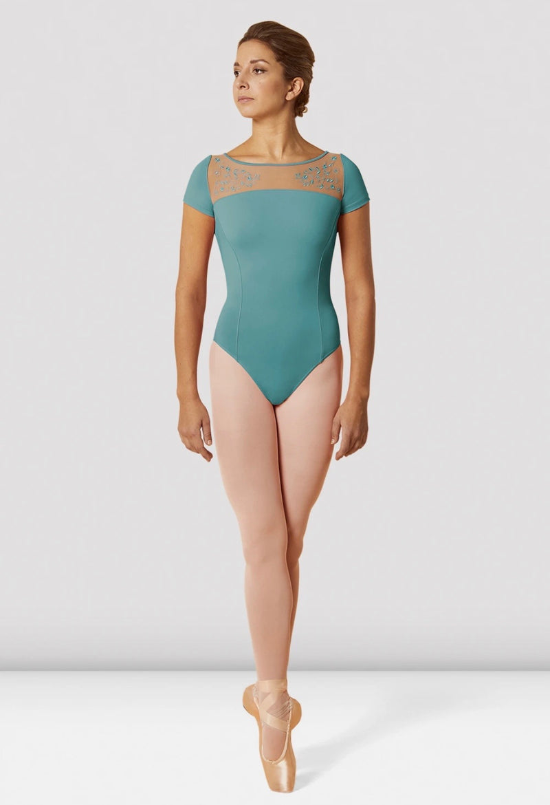 Wide neck mesh leotard