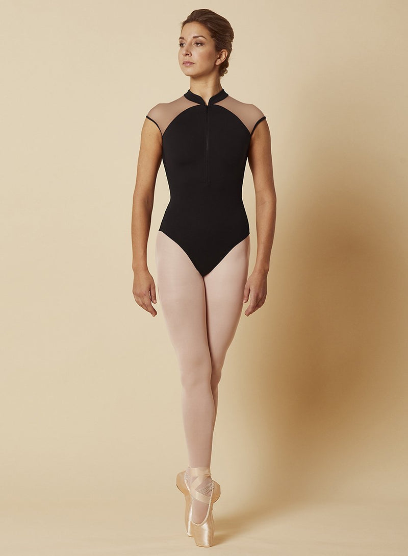 Zipper mesh cap leotard - Dance Emporium
