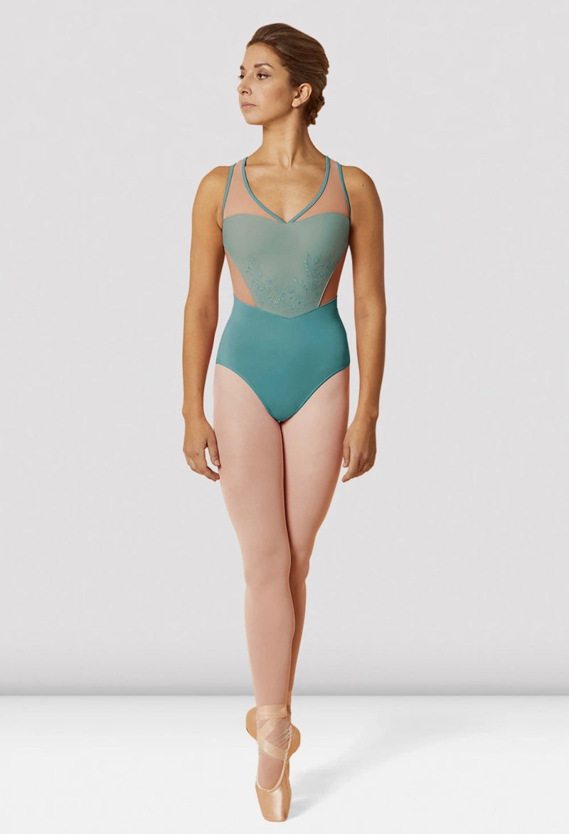Sweetheart mesh leotard