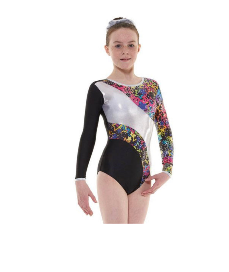 Long sleeved Lycra and Metallic Astro Leotard - Dance Emporium