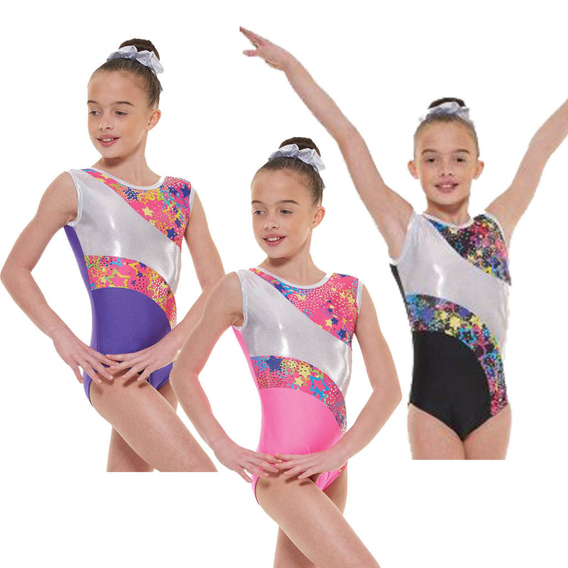 Lycra and Metallic Astro Foil Sleeveless Gymnastic Leotard Gym 39