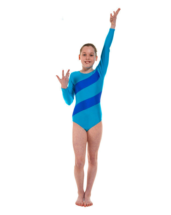 Lycra Stripes Long sleeve leotard Gym 3 - Dance Emporium