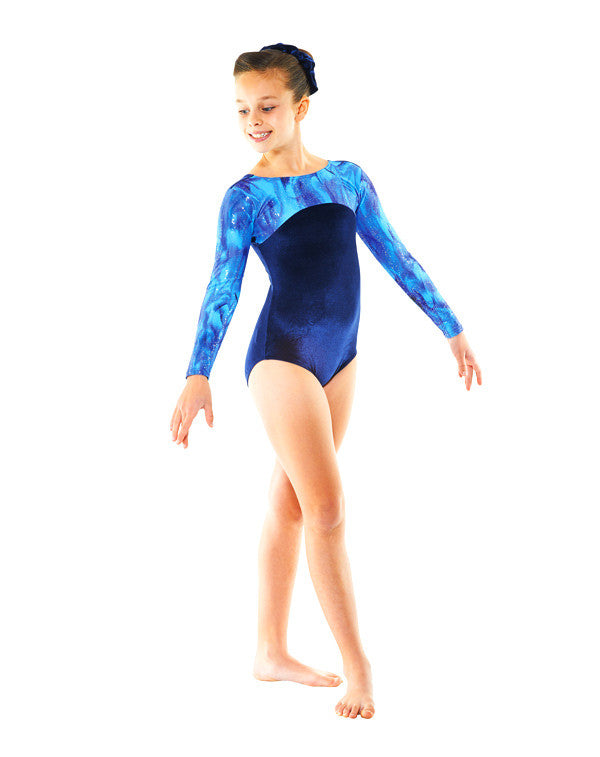 Long Sleeve Smooth Velvet Galaxy Print Gym 23 - Dance Emporium