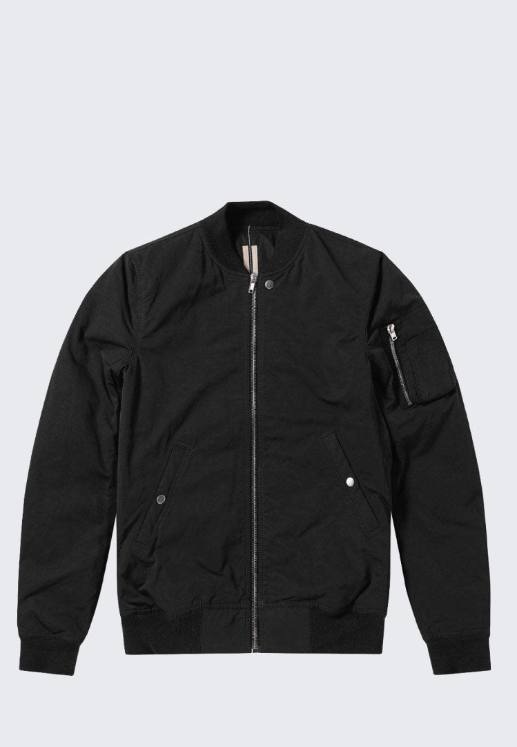 RICK OWENS DRKSHDW BLACK COTTON & NYLON FLIGHT JACKET