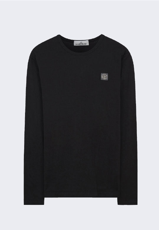 STONE ISLAND LONG SLEEVE GARMENT DYED FISSATO EFFECT TEE