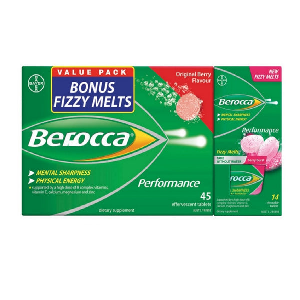 Berocca Berry Effervescent - 45 Tablets Free 14 Melts