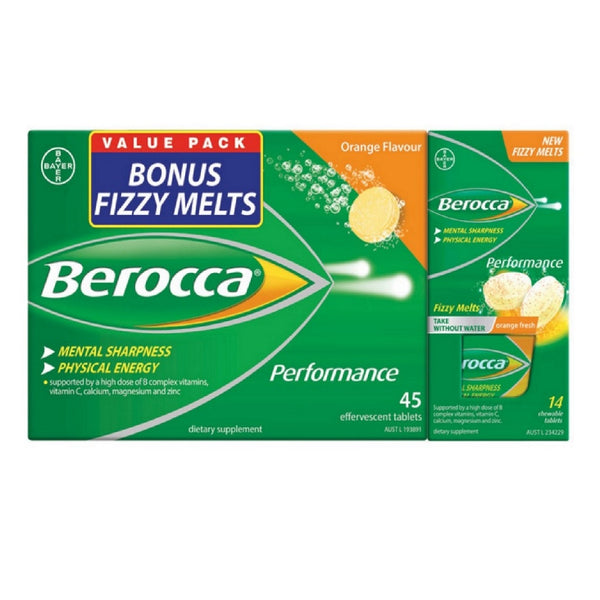 Berocca Orange Effervescent - 45 Tablets Free 14 Melts