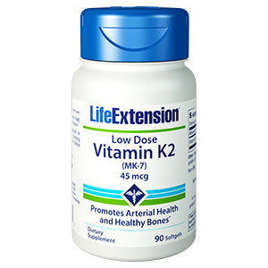 Life Extension Low-Dose Vitamin K2 Menaquinone-7 (MK-7) 45mcg,  90 softgels
