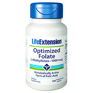 Life Extension Optimized Folate (L-Methylfolate) 1000 mcg, 100 vegetarian tablets