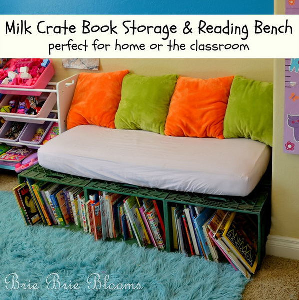 Milk Crate Book Storage and reading bench_ Bored Teachers