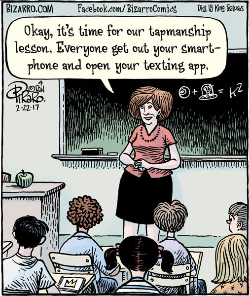 """It's time for our tapmanship lesson. Everyone get out your smart-phone and open your texting app."""