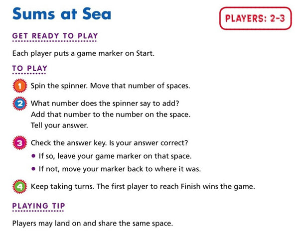 sums at sea scholastic printables rules
