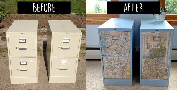 Use Light Blue Spray Paint And State/metro/country Maps To Transform These  Eye Sores Into Cute Sister State Storage! File Cabinet5_Bored Teachers