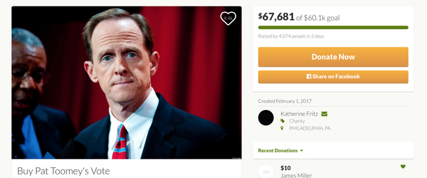 gofundme buy Pat Toomey's vote bored teachers