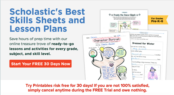 scholastic printables free trial banner