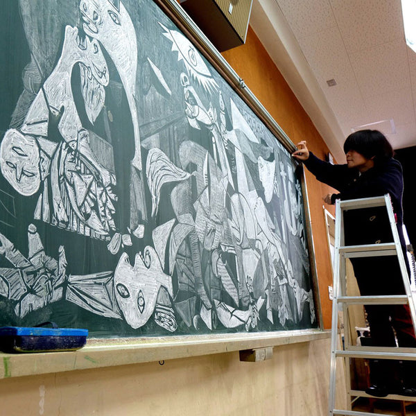 Japanese Teacher draws Picasso chalkboard 2 _ Bored Teachers