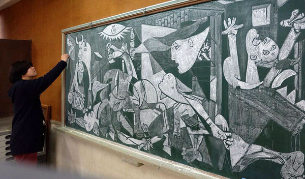 Japanese Teacher draws Picasso chalkboard _ Bored Teachers
