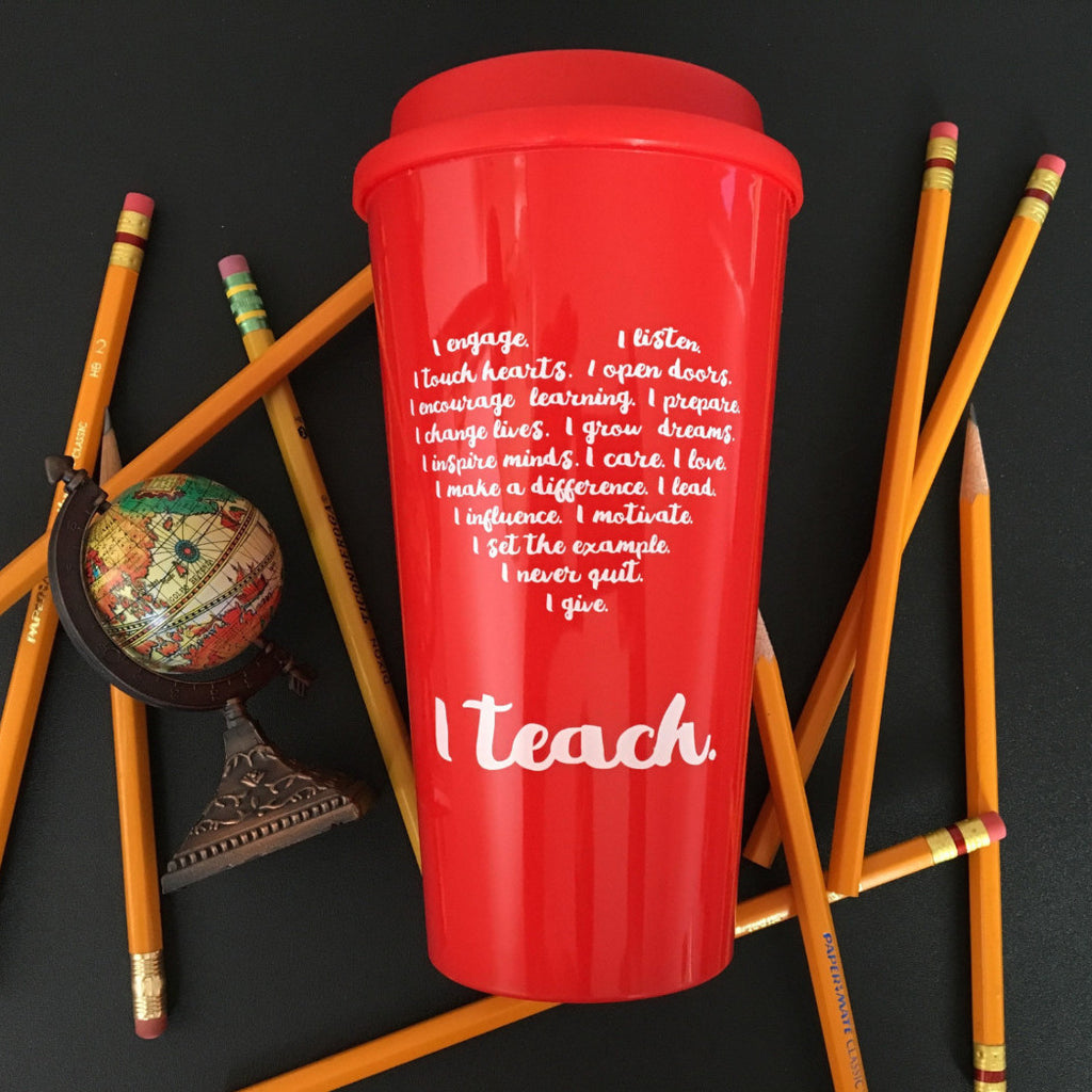 teacher travel mug heart I teach teacher gift