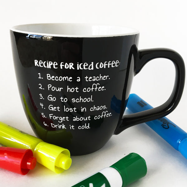 recipe for iced coffee teacher mug bored teachers gifts