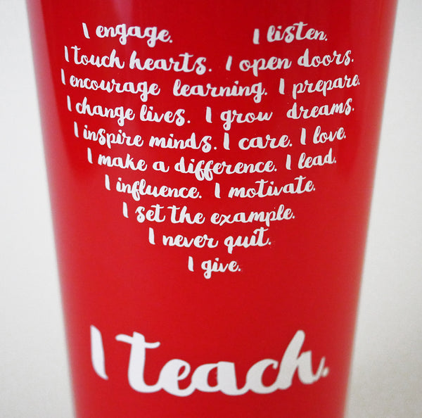 teacher travel mug heart I teach teacher appreciation gift